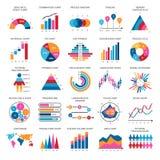 Biznesowych dane wykresy Wektorowe pieniężne i marketing mapy royalty ilustracja