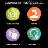 Biznesowych etyk ikony Ustalona akwarela Zdjęcie Stock
