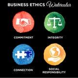Biznesowych etyk ikony Ustalona akwarela Zdjęcia Royalty Free