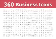 360 Biznesowych ikon Obrazy Royalty Free