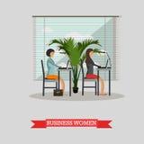 Biznesowych kobiet praca z laptopami w biurze Wektorowy sztandaru pojęcie w mieszkanie stylu projekcie royalty ilustracja