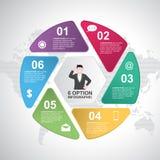 Biznesowych krok?w ?aluzji cyklu mapy Infographic Nowo?ytny szablon royalty ilustracja