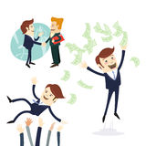 Biznesowych mężczyzna uścisk dłoni, biznesmena miotania pieniądze, rzucał w powietrzu Obraz Stock