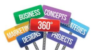 360 biznesowych pojęć. kolorów znaki Zdjęcia Stock