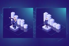 Biznesowych statystyk i dane analizy isometric wektorowa ikona, dane unaocznienie, praca zespołowa lider, zmrok neonowy ilustracji