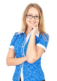 biznesowych szkieł szczęśliwa kobieta Zdjęcia Royalty Free