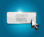 Biznesowych zysków guzika znaka pojęcie Obraz Royalty Free