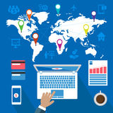 Bizness und Weltkarte Stockbild
