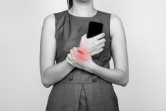 biznesu bólowy kobiety nadgarstek fotografia stock