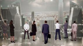 Biznesu dopatrywania ampuły drużynowy pejzaż miejski ilustracja wektor