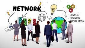 Biznesu dopatrywania sieci drużynowy brainstorm ilustracja wektor