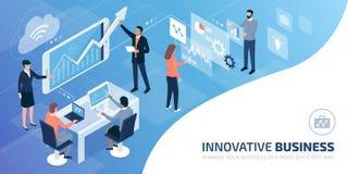 Biznesu drużynowy działanie wpólnie w wirtualnym środowisku ilustracji
