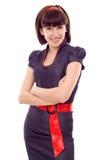 biznesu fałdowe ręki odizolowywająca uśmiechnięta kobieta Zdjęcia Stock