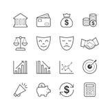 Biznesu & finanse ikony - Wektorowa ilustracja, Kreskowe ikony ustawiać Zdjęcia Stock