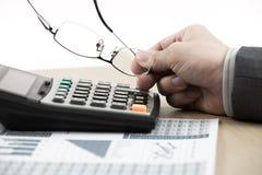 Biznesu finanse mężczyzna cyrklowania budżeta liczby Zdjęcie Stock