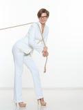 Biznesu i edukaci pojęcie - bizneswomanu ciągnięcia arkana Fotografia Stock