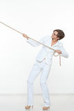 Biznesu i edukaci pojęcie - bizneswomanu ciągnięcia arkana Obraz Stock