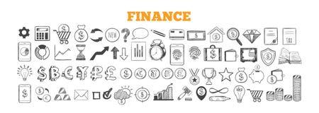 Biznesu i finanse wektoru ikony Ręka rysujący odosobneni elementy Ilustracji