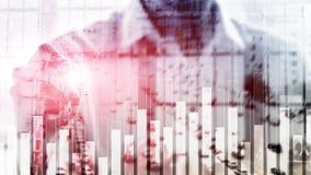 Biznesu i finanse wykres na zamazanym tle Handlować, inwestyci i ekonomii pojęcie, zdjęcie stock