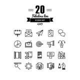 Biznesu i marketingu kreskowe ikony ustawiać ilustracji