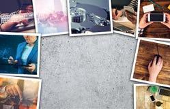 Biznesu i przedsiębiorczości fotografii kolaż obraz stock