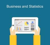 Biznesu i statystyk mieszkania ilustracyjni projekty Monitorowanie biznes i statystyki pojęcia ilustracja na gadżetu ekranie Fotografia Stock
