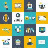 Biznesu i technologii ikona ustawiająca dla Płaski wektor ilustracja wektor