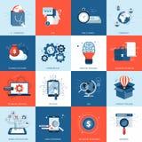 Biznesu i technologii ikona ustawiająca dla Płaski wektor royalty ilustracja