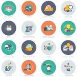 Biznesu i technologii ikony set Płaska wektorowa ilustracja royalty ilustracja