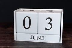 Biznesu kalendarz dla Czerwca, 3rd dzień miesiąc Planisty organizatora data lub wydarzenie rozk?adu poj?cie zdjęcia royalty free