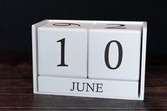 Biznesu kalendarz dla Czerwca, 10th dzień miesiąc Planisty organizatora data lub wydarzenie rozk?adu poj?cie obraz stock