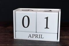 Biznesu kalendarz dla Kwietnia, 1st dzień miesiąc Planisty organizatora data lub wydarzenie rozk?adu poj?cie zdjęcia royalty free