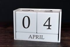 Biznesu kalendarz dla Kwietnia, 4th dzień miesiąc Planisty organizatora data lub wydarzenie rozk?adu poj?cie fotografia stock