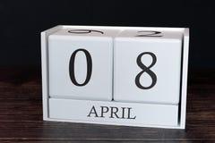 Biznesu kalendarz dla Kwietnia, 8th dzień miesiąc Planisty organizatora data lub wydarzenie rozk?adu poj?cie fotografia stock