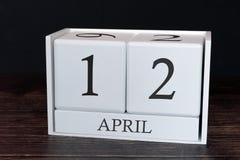 Biznesu kalendarz dla Kwietnia, 12th dzień miesiąc Planisty organizatora data lub wydarzenie rozk?adu poj?cie zdjęcia stock