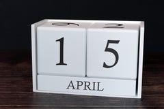 Biznesu kalendarz dla Kwietnia, 15th dzień miesiąc Planisty organizatora data lub wydarzenie rozk?adu poj?cie fotografia royalty free