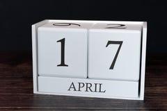 Biznesu kalendarz dla Kwietnia, 17th dzień miesiąc Planisty organizatora data lub wydarzenie rozk?adu poj?cie obrazy stock