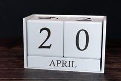 Biznesu kalendarz dla Kwietnia, 20th dzień miesiąc Planisty organizatora data lub wydarzenie rozk?adu poj?cie zdjęcia royalty free