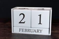 Biznesu kalendarz dla Luty, 21st dzień miesiąc Planisty organizatora data lub wydarzenie rozk?adu poj?cie zdjęcia stock