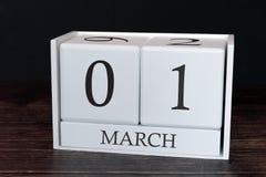 Biznesu kalendarz dla Marzec, 1st dzień miesiąc Planisty organizatora data lub wydarzenie rozk?adu poj?cie zdjęcie royalty free