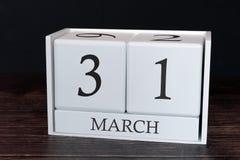 Biznesu kalendarz dla Marzec, 31st dzień miesiąc Planisty organizatora data lub wydarzenie rozk?adu poj?cie zdjęcia royalty free