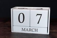 Biznesu kalendarz dla Marzec, 7th dzień miesiąc Planisty organizatora data lub wydarzenie rozk?adu poj?cie obraz royalty free