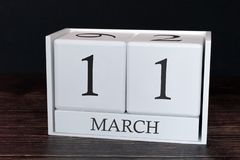 Biznesu kalendarz dla Marzec, 11th dzień miesiąc Planisty organizatora data lub wydarzenie rozk?adu poj?cie obrazy royalty free