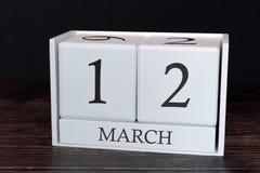 Biznesu kalendarz dla Marzec, 12th dzień miesiąc Planisty organizatora data lub wydarzenie rozk?adu poj?cie zdjęcia royalty free