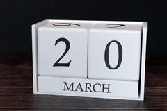 Biznesu kalendarz dla Marzec, 20th dzień miesiąc Planisty organizatora data lub wydarzenie rozk?adu poj?cie zdjęcia stock