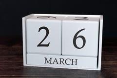 Biznesu kalendarz dla Marzec, 26th dzień miesiąc Planisty organizatora data lub wydarzenie rozk?adu poj?cie zdjęcia royalty free