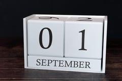 Biznesu kalendarz dla Września, 1st dzień miesiąc Planisty organizatora data lub wydarzenie rozk?adu poj?cie obrazy stock