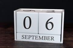 Biznesu kalendarz dla Września, 6th dzień miesiąc Planisty organizatora data lub wydarzenie rozk?adu poj?cie fotografia royalty free