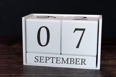 Biznesu kalendarz dla Września, 7th dzień miesiąc Planisty organizatora data lub wydarzenie rozk?adu poj?cie zdjęcia royalty free