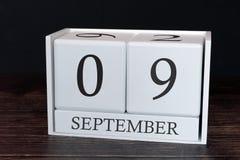 Biznesu kalendarz dla Września, 9th dzień miesiąc Planisty organizatora data lub wydarzenie rozk?adu poj?cie fotografia stock